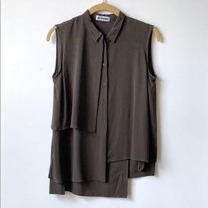 Jil Sander Gunflap Unique Blouse Top Silk Tank